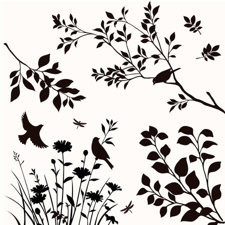 Vector set of silhouttes of birds, twigs and flowers. 矢量图像