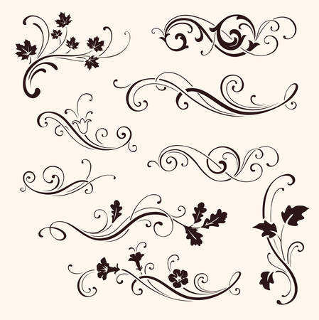 Set of calligraphic floral elements  イラスト・ベクター素材