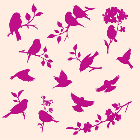 Set of decorative twig and bird silhouettes Vectores