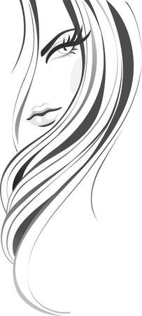 stylish hair: abstract woman Illustration