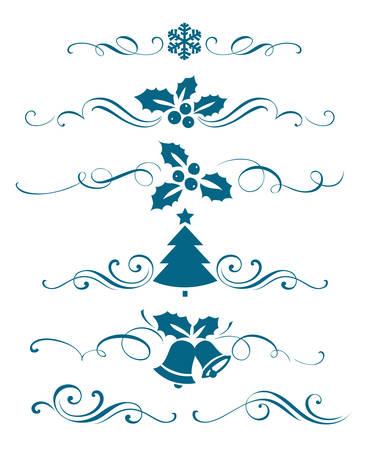copo de nieve: A�o nuevo conjunto de elementos caligr�ficos decorativos Vectores