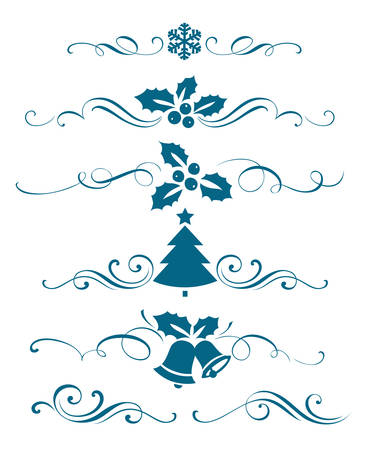 tree silhouettes: New year set of decorative calligraphic elements Illustration