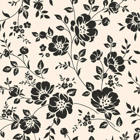 silhouette fleur: Motif transparente avec des fleurs