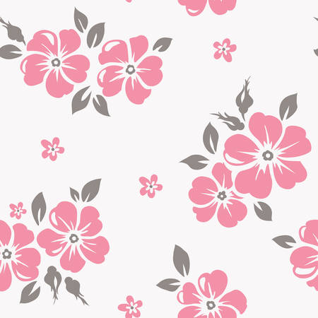 pink bushes: Seamless pattern with pink flowers Illustration