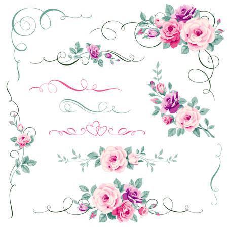 Zestaw kwiatowy elementów kaligraficznych