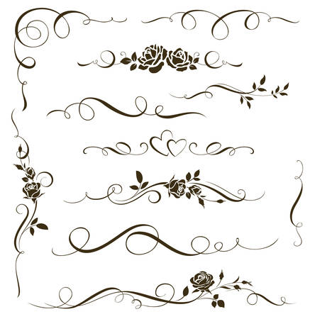 Set of floral calligraphic elements. Decorative roses