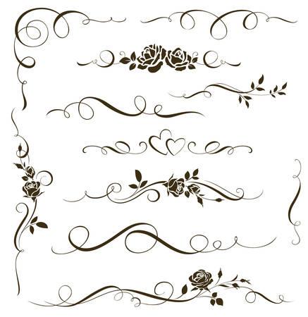 Zestaw kwiatowy elementów kaligrafii. dekoracyjne róże Ilustracje wektorowe