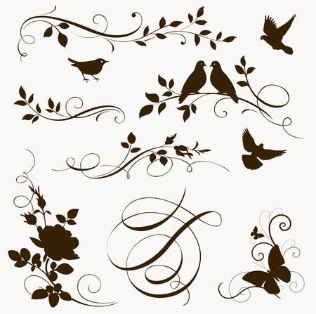tatouage oiseau: éléments calligraphiques floraux décoratifs. Jeu de silhouettes de printemps Illustration
