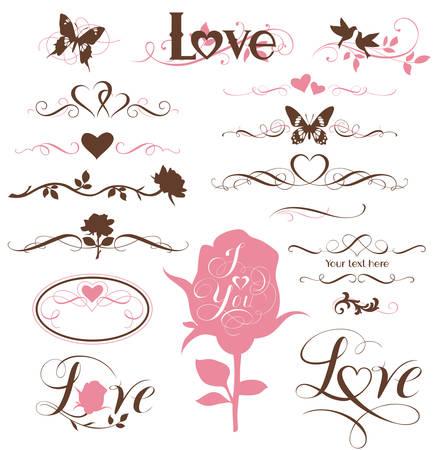 Set van kalligrafische elementen, decoratieve harten en bloemen