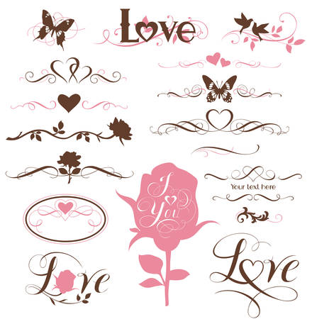 Set of calligraphic elements, decorative hearts and flowers Illustration