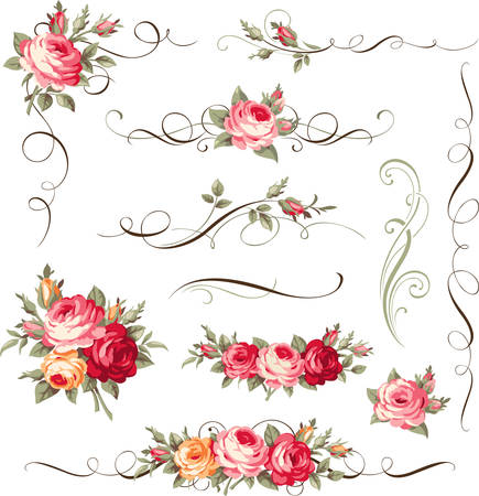 Set of calligraphic floral elements Vectores