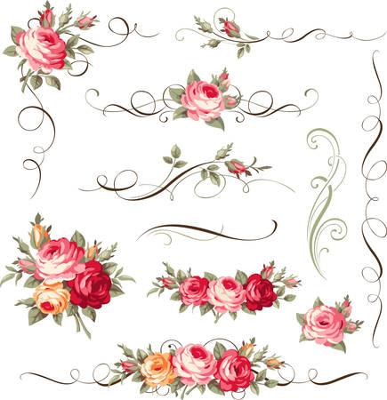 Set van kalligrafische bloemen elementen