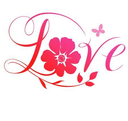 silhouette fleur: Amour texte avec des fleurs Illustration