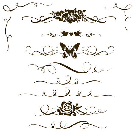Set of decorative calligraphic elements. Silhouettes of flowers, calligraphic dividers and corners for your design. Floral ornaments