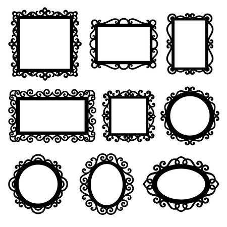 Set of decorative frames. Ornamental frame silhouettes.