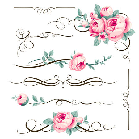 Decorative calligraphic elements and flowers for your design. Floral dividers and ornaments with pink rose