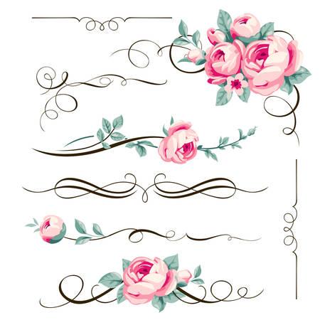 elementos caligráficos decorativos y flores para su diseño. divisores florales y adornos con rosas de color rosa Ilustración de vector