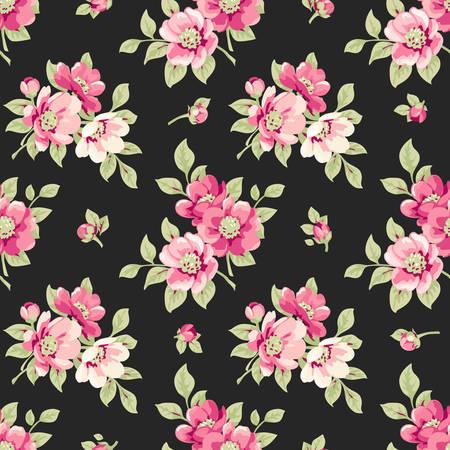ピンクの花とのシームレスなパターン。花が咲くとヴィンテージ花柄