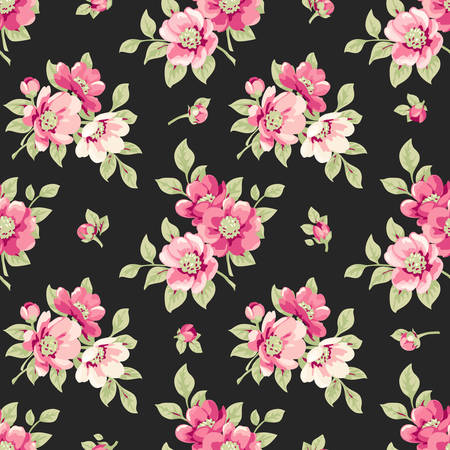 shabby: Seamless pattern with pink flowers. Vintage floral pattern with blooming flowers