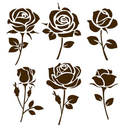 バラのアイコン。装飾的なバラのシルエットのセット