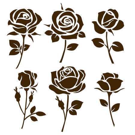 Rose icon. Set of decorative rose silhouettes Illustration
