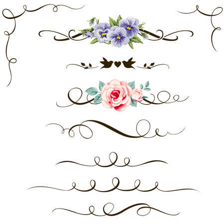 rose: Set of decorative calligraphic floral elements. Vintage flower and calligraphic divider for your design Illustration