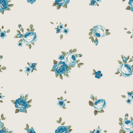 Seamless pattern with blue flowers. Vintage seamless floral wallpaper with roses