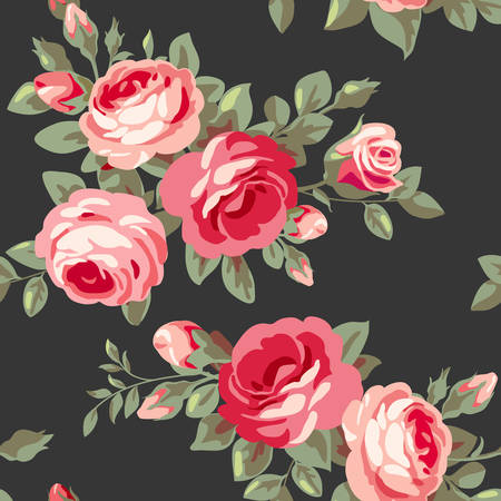 Seamless pattern with pink roses. Vintage seamless floral wallpaper with blooming flowers