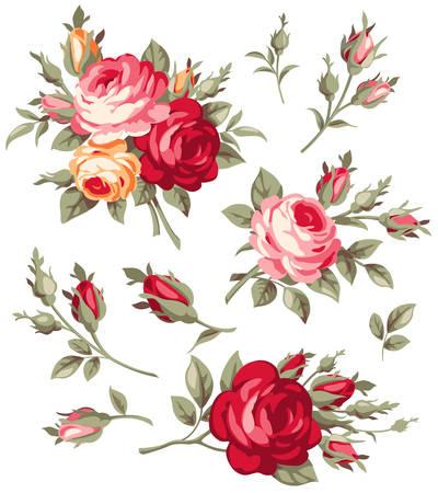 Decoratieve uitstekende roos en bud. Vector bloeiende bloemen te stellen voor uw ontwerp