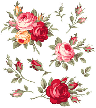 Decorative vintage rose and bud. Vector blooming flowers set for your design