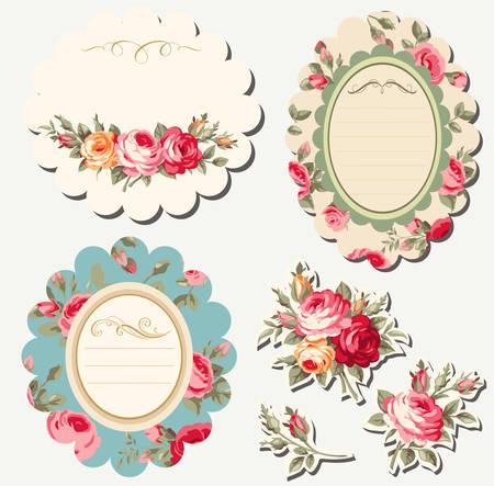 Decoratieve bloemen scrapbook frames met uitstekende rozen. vector set