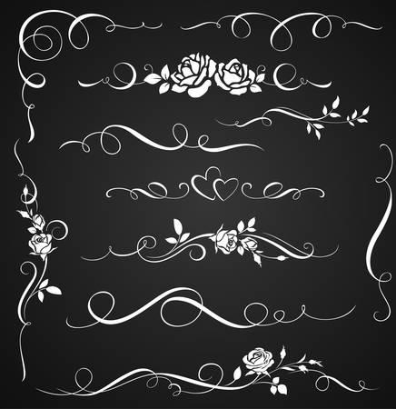 Decoratieve ornamenten met rozen. Set van bloemen kalligrafische elementen voor huwelijksuitnodigingen.