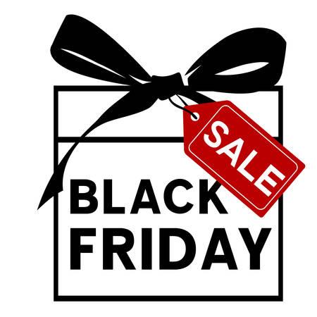 black bow: Black friday sale. Gift with black bow Illustration