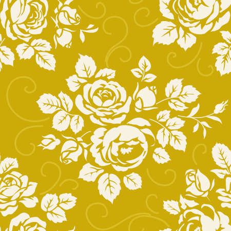 dcor: Seamless pattern with roses. Vintage background with blooming rose silhouettes. Yellow floral wallpaper Stock Photo