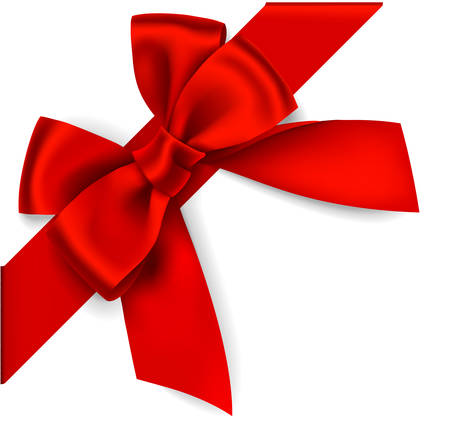 diagonally: Decorative red bow with diagonally ribbon on the corner. Vector bow for page decor