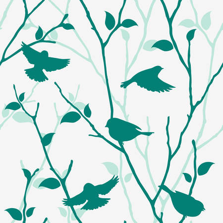 Seamless blue pattern with birds and twigs. Vector spring background with bird silhouettes