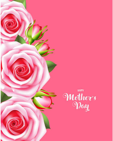 female pink: Mothers day card with pink roses. Happy mothers day. Vector illustration Illustration