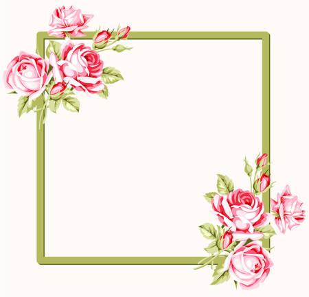 Cadre carré décoratif avec des roses vintage. Illustration vectorielle