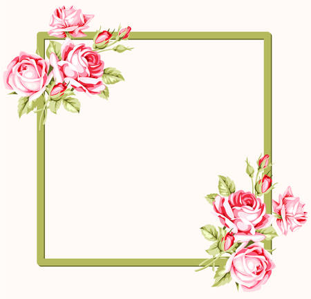 Marco cuadrado decorativo con las rosas de la vendimia. ilustración vectorial Foto de archivo - 74892259