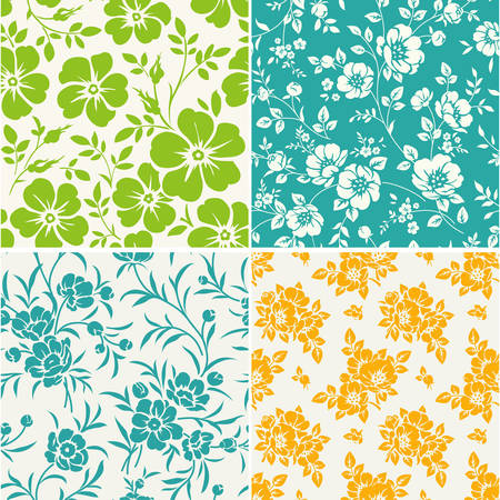 Vector set of seamless pattern with blooming peonies. Vintage floral pattern with peony silhouette