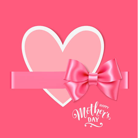 female pink: Decorative paper heart with horizontal pink ribbon and bow