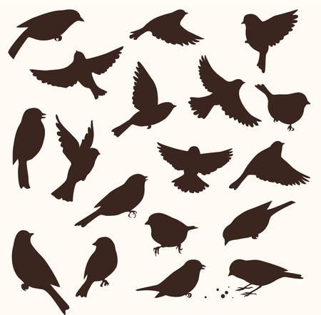 Set of decorative birds silhouettes. Vector illustration Ilustração