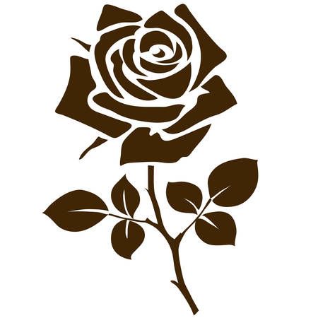 Rose icon. Decorative garden flower silhouette isolated on white. Vector illustration 向量圖像