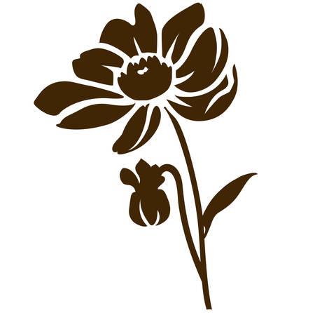Dahlia silhouette isolated on white. Vector illustration. Decorative garden flower
