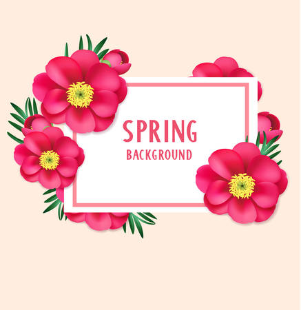 Floral background with pink flowers and card 向量圖像