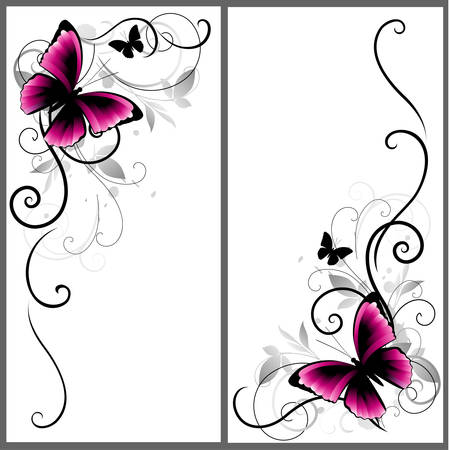 Decorative ornament with batterfly, leaves and lines. Vector illustration