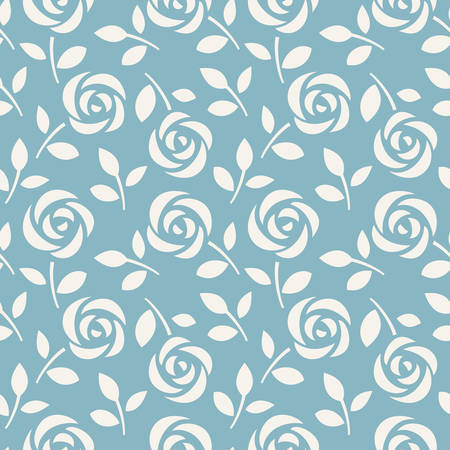 Seamless vector wallpaper with roses and leaves Ilustração