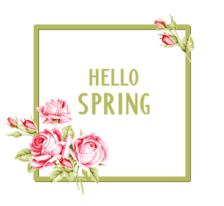 Spring template with vintage roses and text