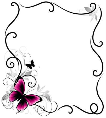 蝶と葉を持つ美しいベクター フレーム  イラスト・ベクター素材
