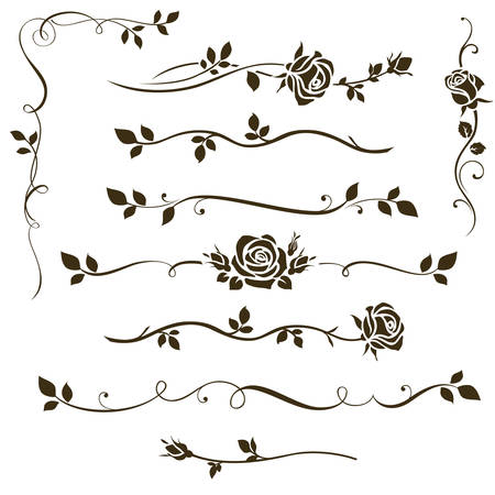 Calligraphic floral elements, dividers for your design